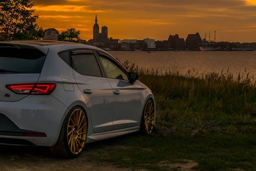 Free stock photo of car, evening sun, panorama