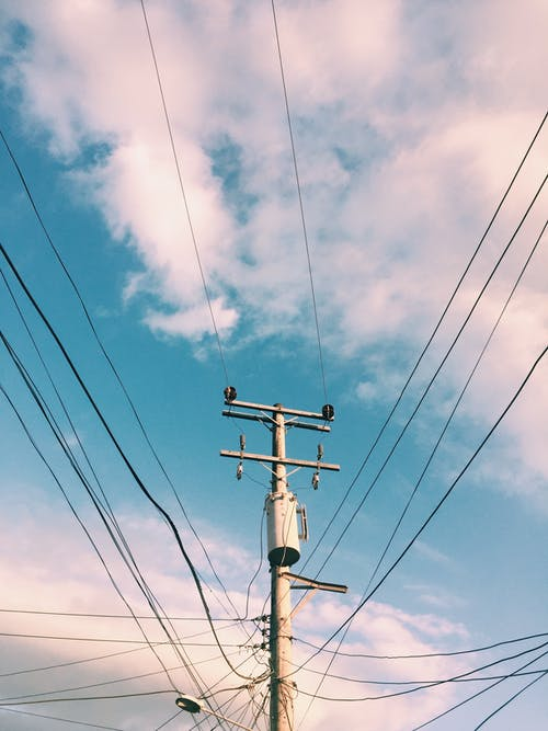 Free stock photo of blue sky, electric car, wire