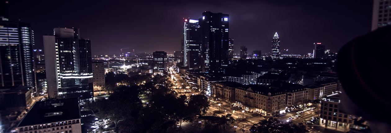 noche, panorama urbano, skyline