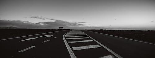 Základová fotografie zdarma na téma černobílý, cesta, dopravní značení, pozadí