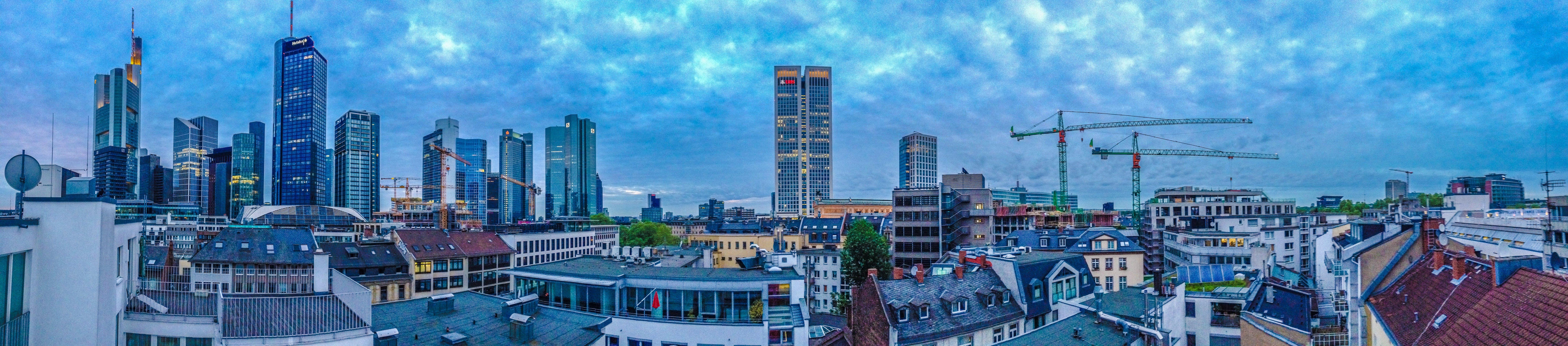 Free stock photo of crane, panorama, panorama view, rooftops