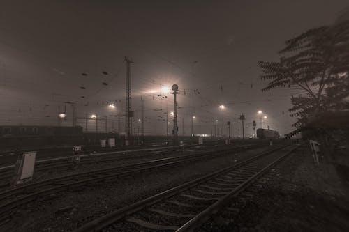 Immagine gratuita di allena, allenare, ferrovie, notte