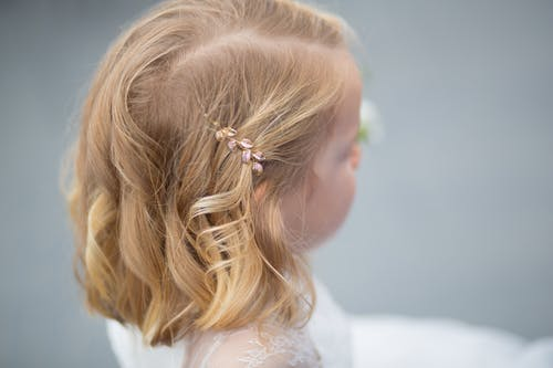 Brass Hair Clip on Little Girl's Hair