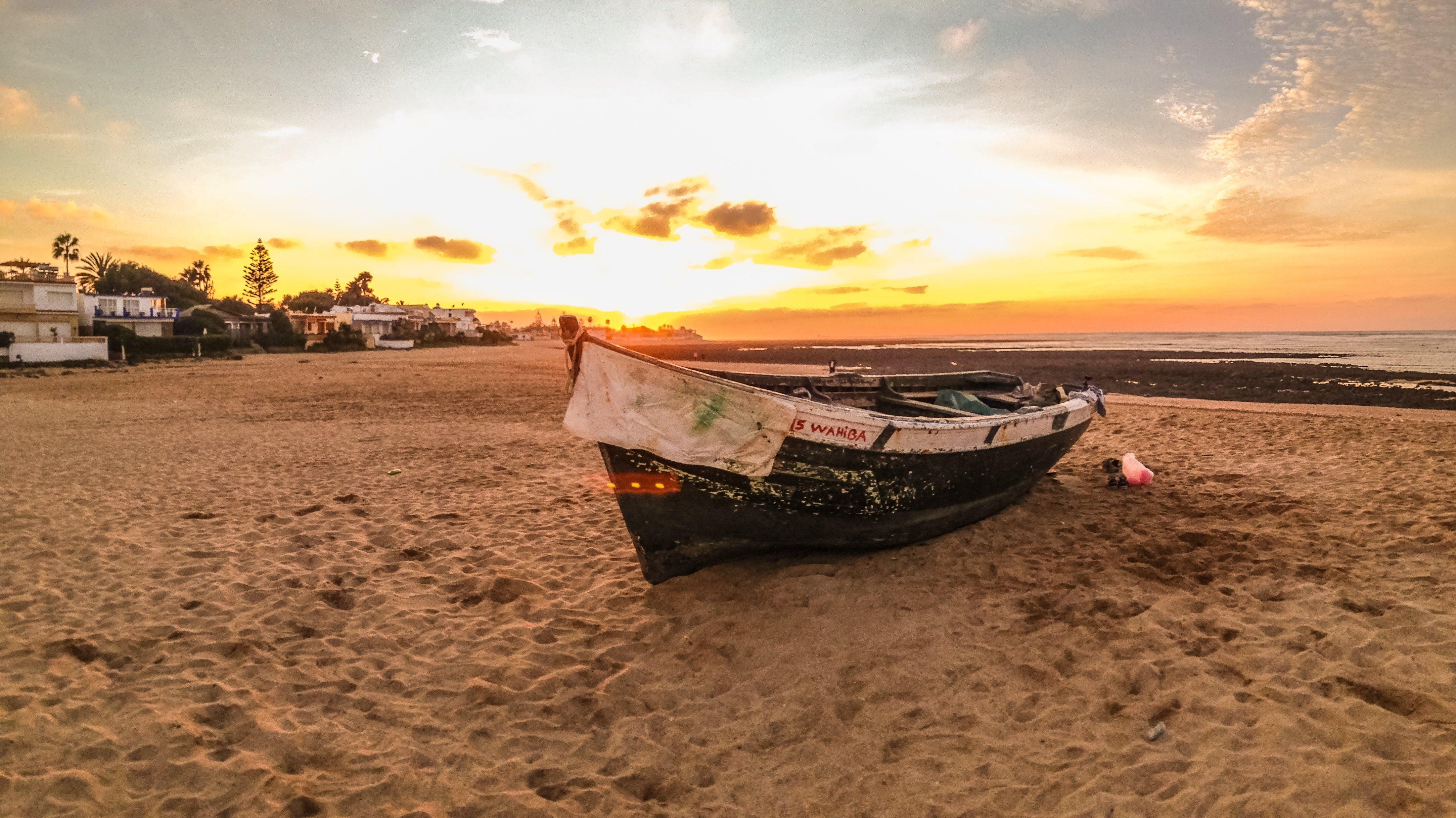 Free stock photo of beach, boat, fishing boat
