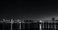 sea, city, sunset