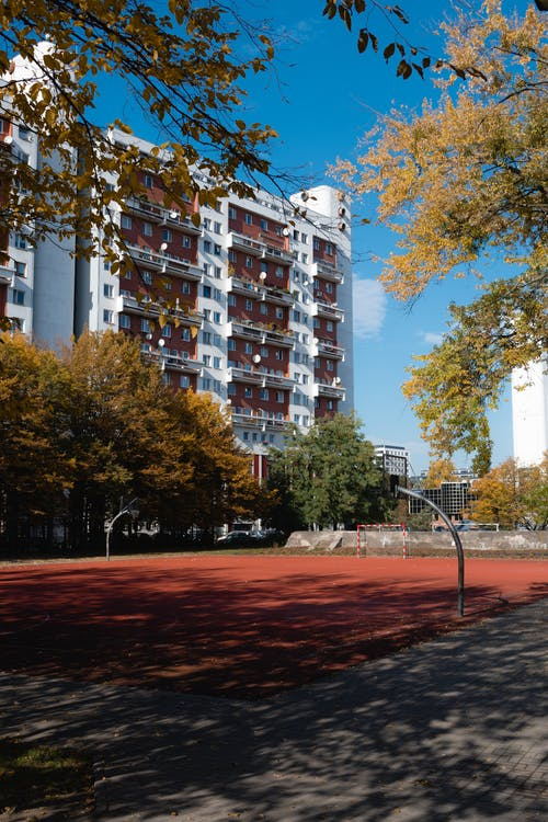 Free stock photo of architecture, autumn, basketball court, building