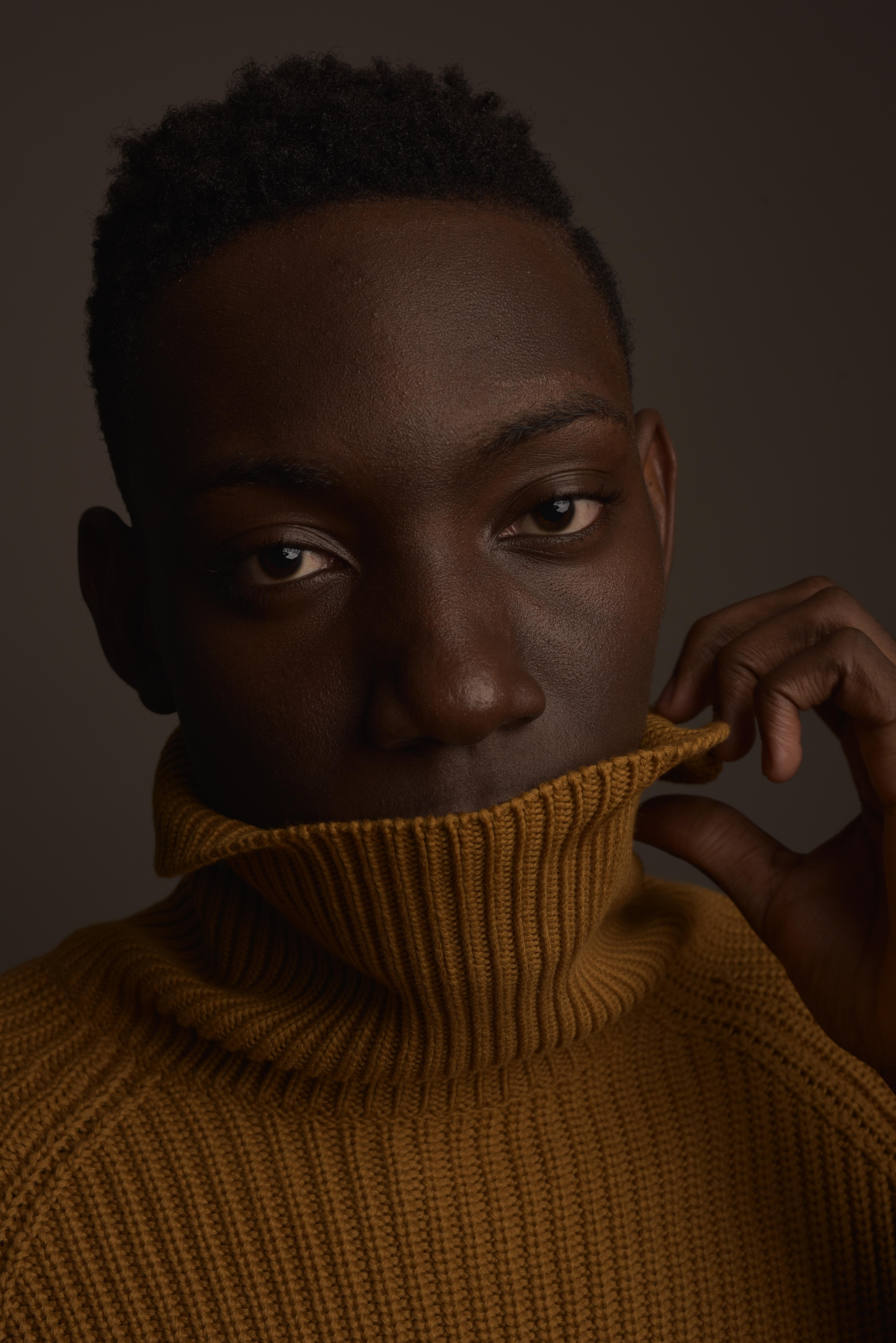 Man in Brown Turtleneck Sweater