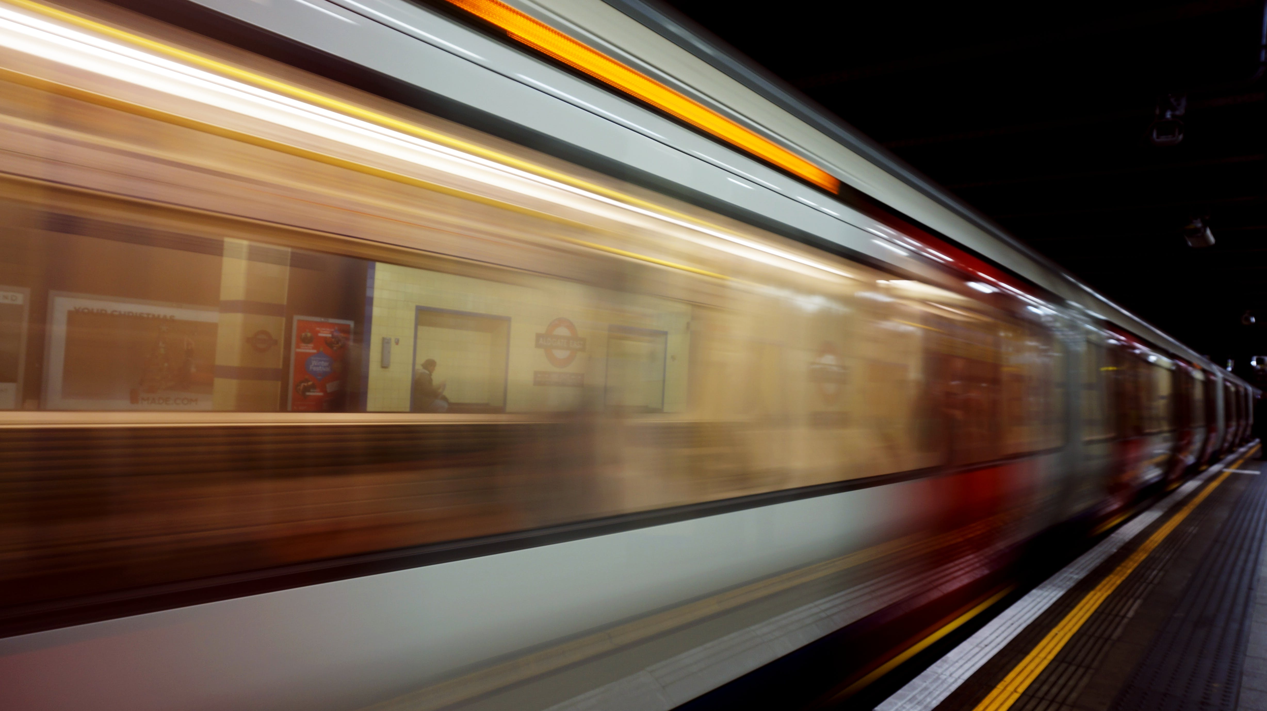 Free stock photo of aldgate east, london, metro, motion blur