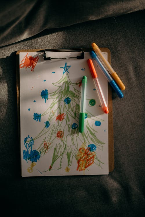 Colorful Ink Drawing of a Christmas Tree