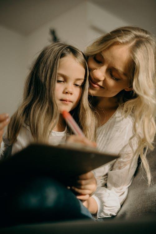 blond vlasy, dáma, dcéra
