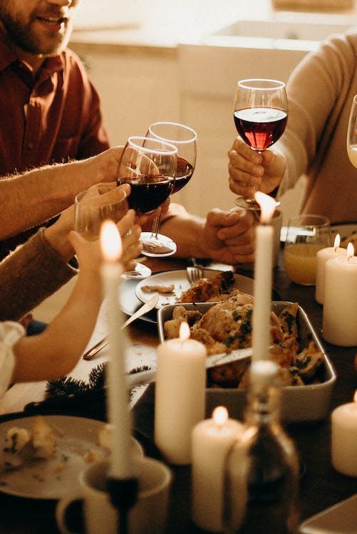 czerwone wino, głębia pola, jedzenie