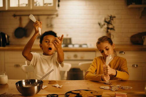 Boy and Girl Making Cookies
