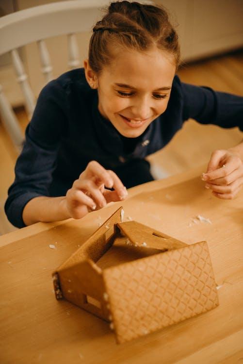 Smiling Girl Making Gingerbread House
