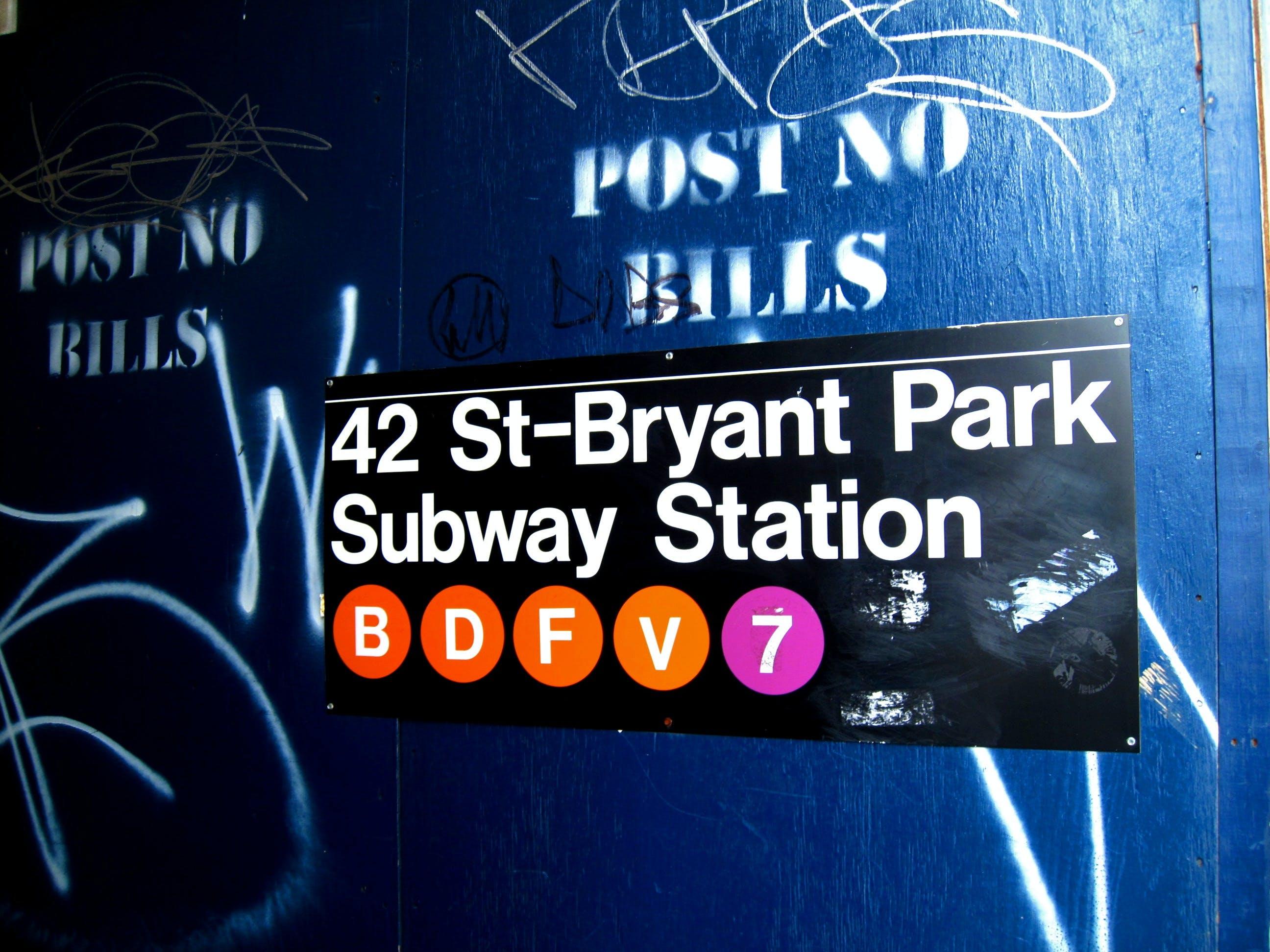 Free stock photo of new york, sign, subway, urban