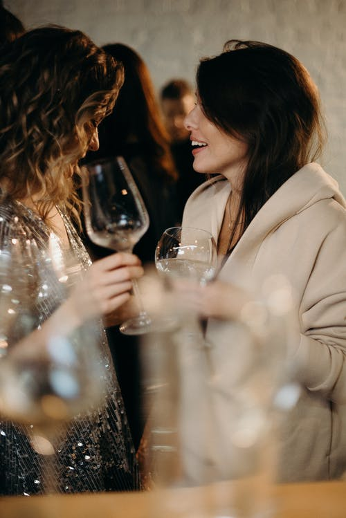 Selective Focus Photography of Talking Women Holding Wine Glasses