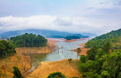 Free stock photo of backwaters, cloudy sky, dam