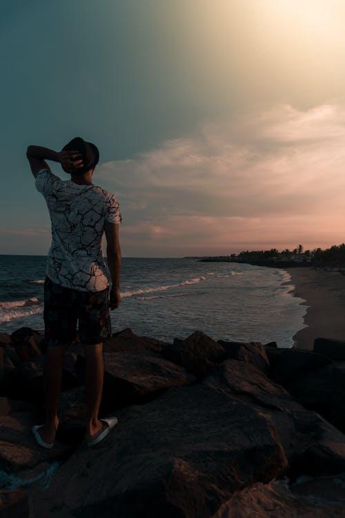 Free stock photo of beach, beach sunset, man standing