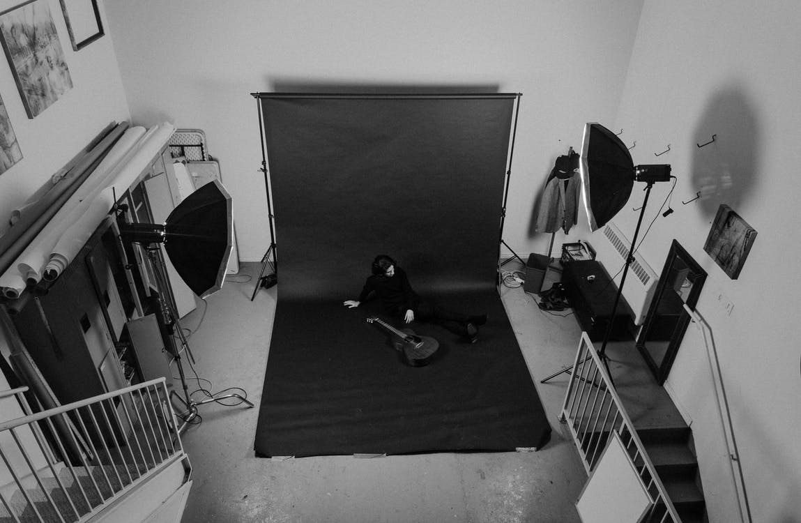 Graysale Photo of Photography Room