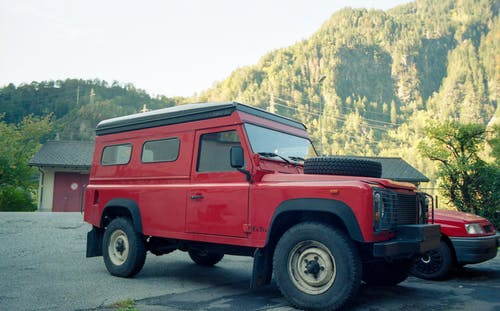 Free stock photo of analog photography, car, defender, hills