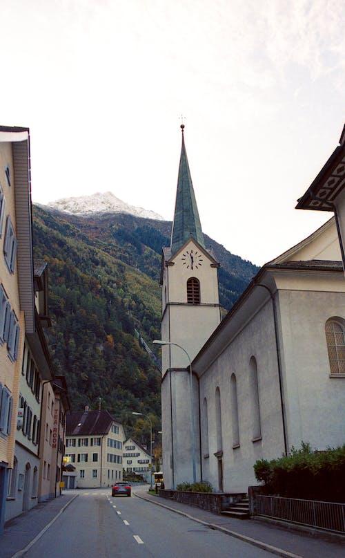 Free stock photo of analog photography, christianity, church, mountain