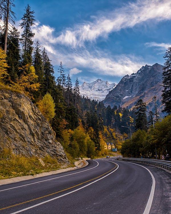 asfalt, bjerg, landskab