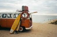 Surfboards Leaning on Van