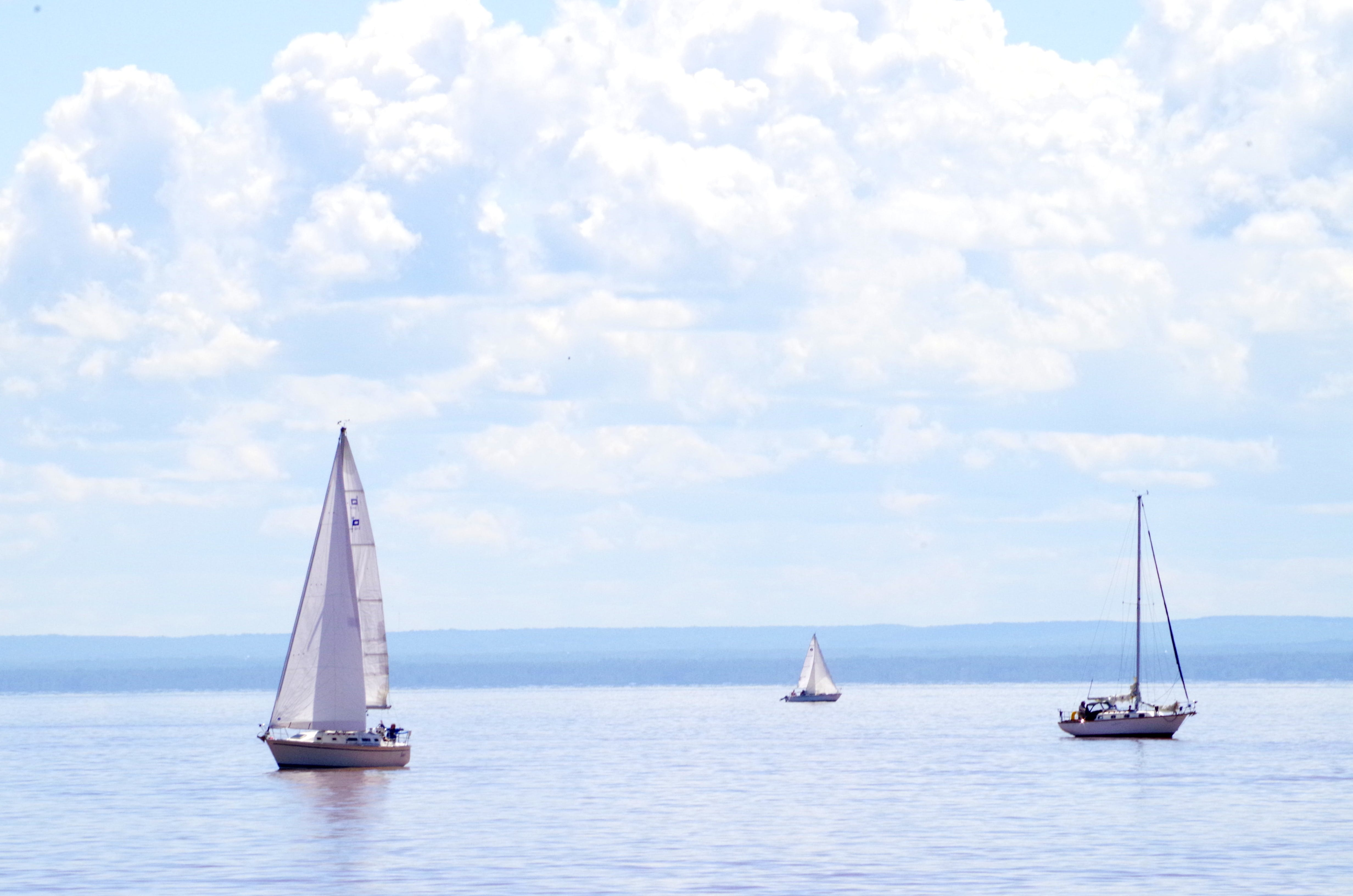 Free stock photo of blue sky, boat, clouds, duluth