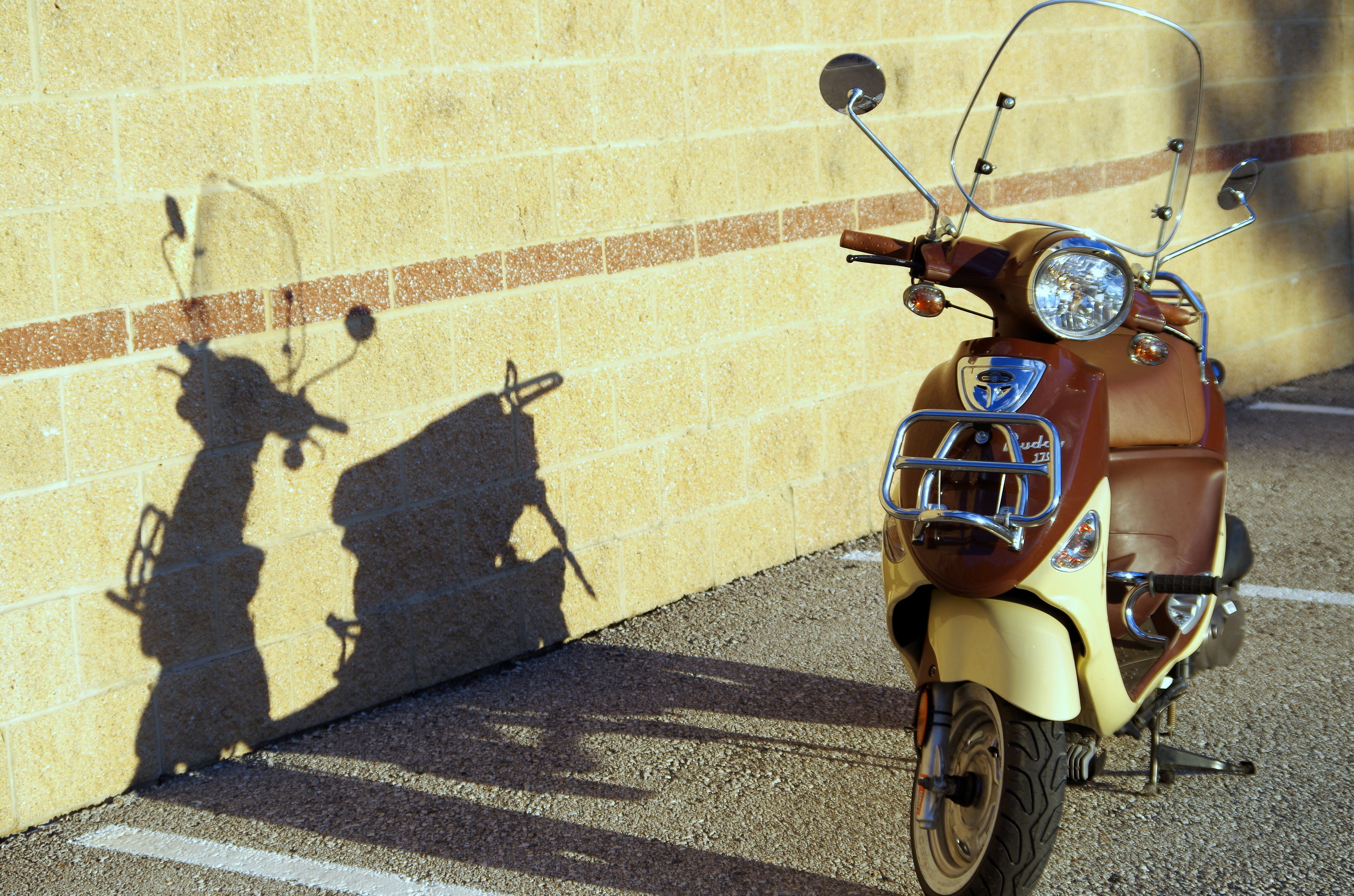 Free stock photo of brick wall, brown, genuine buddy, motor scooter