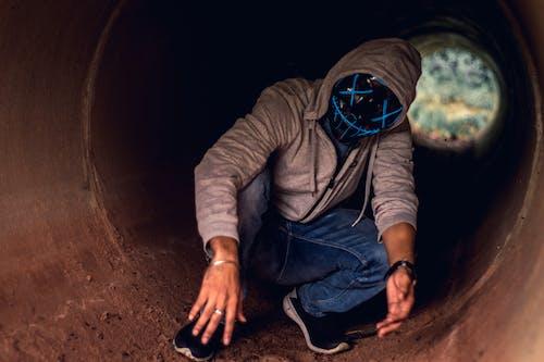 Free stock photo of blue mask, fade, horror, led mask