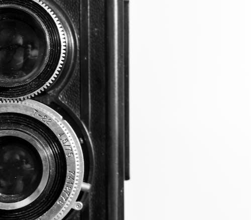 Základová fotografie zdarma na téma abstraktní, černobílá, vintage fotoaparát