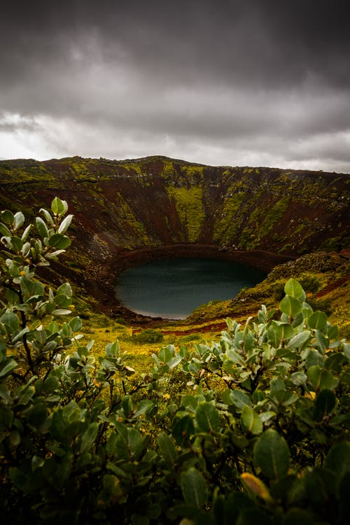 View Photography of Volcano Mouth With Lake