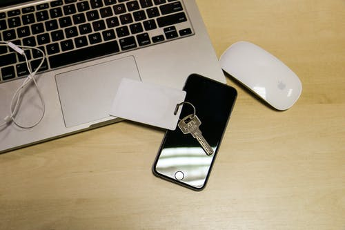 Free stock photo of desktop, iphone 6, key