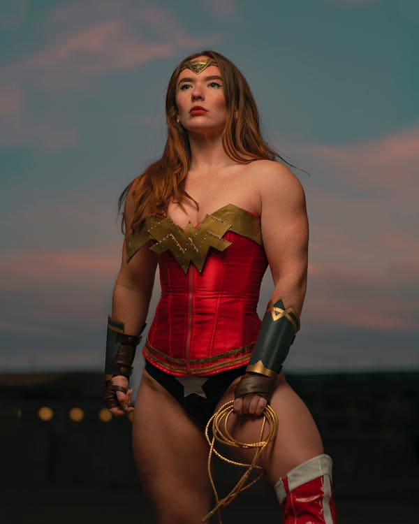 Woman Wearing Wonder Woman Costume