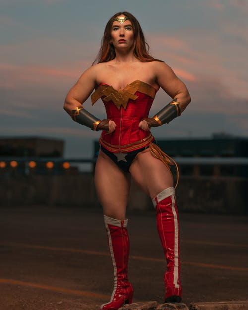 Woman Wearing Red and Blue Wonder Woman Costume