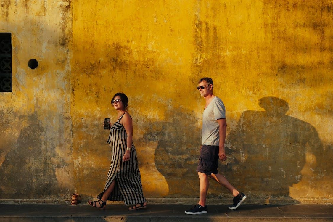 chodzenie, cień, kobieta