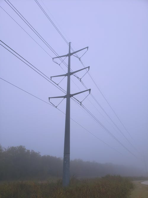 Free stock photo of electricity, electricity pole, fog, foggy