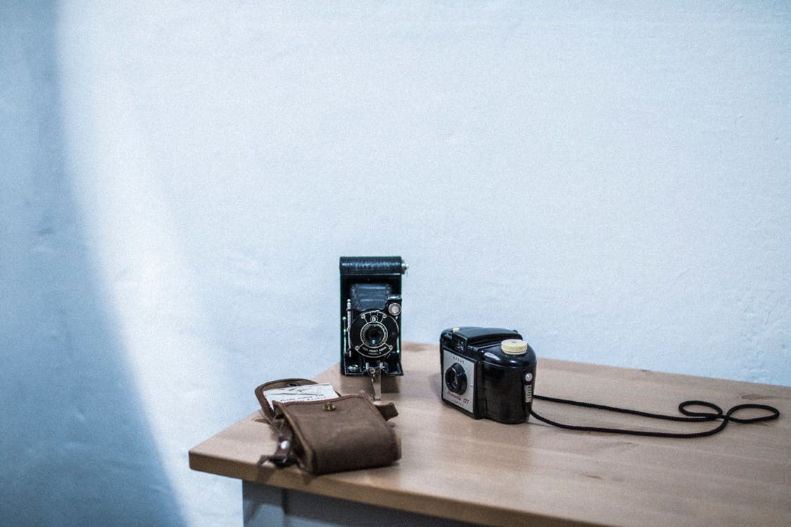 analog, analogt kamera, antikk