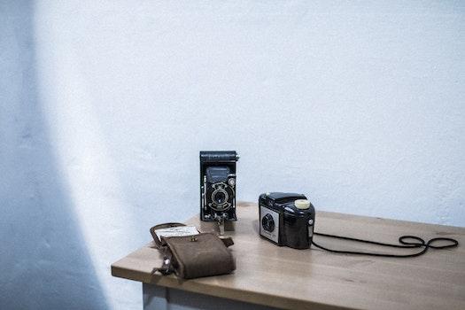 Free stock photo of camera, vintage, table, white