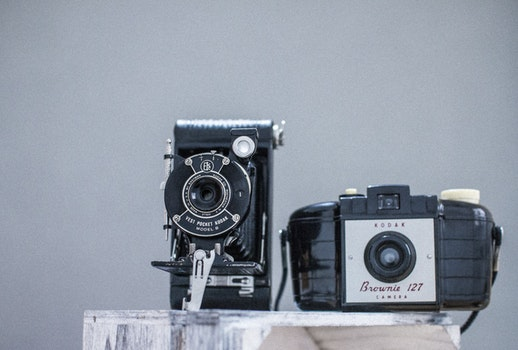 Free stock photo of camera, vintage, table, technology