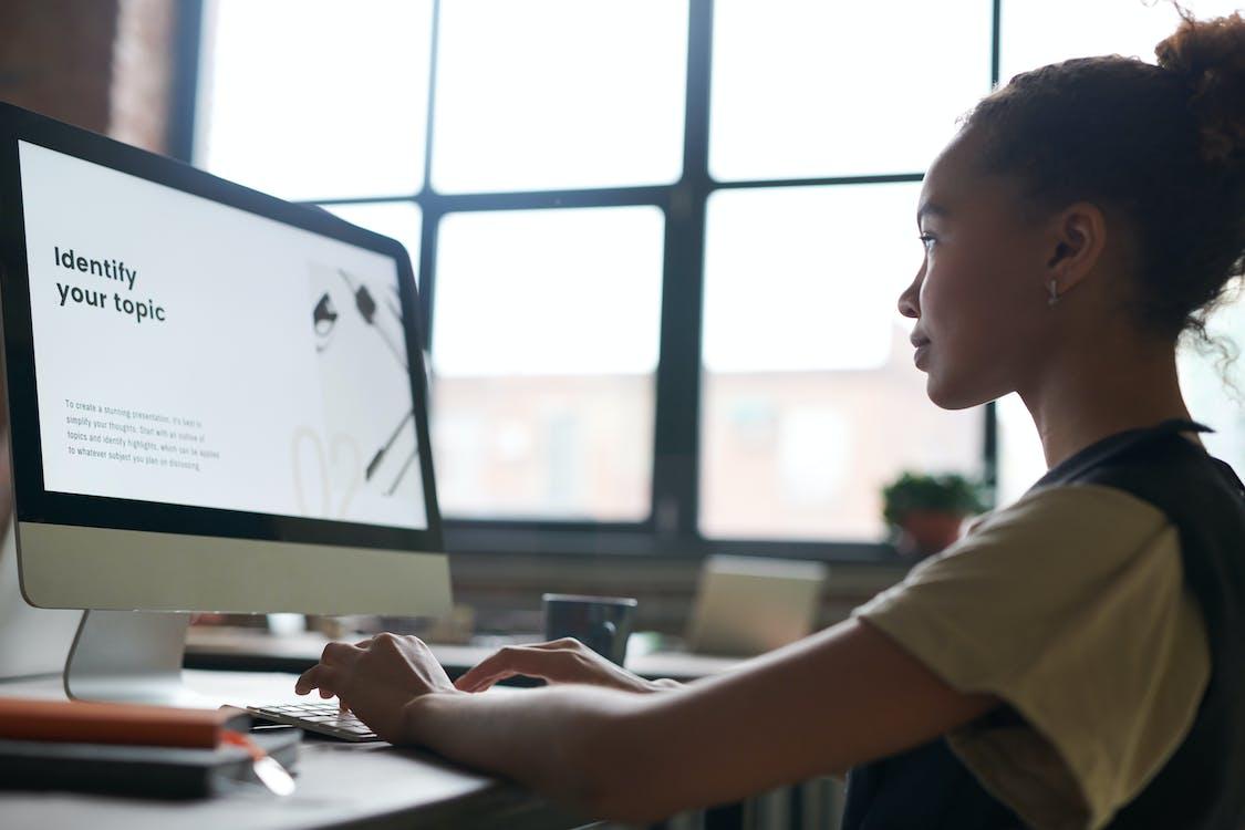 computer, kontor, kvinde