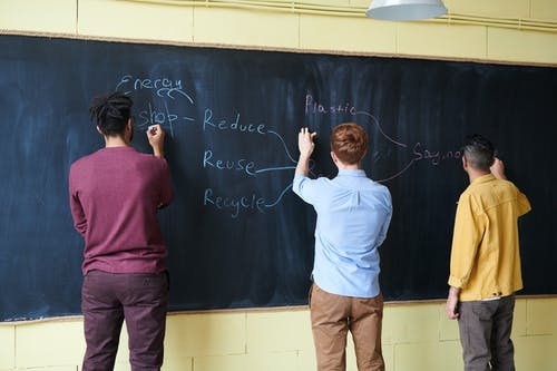 Men wriiting on Blackboard with Chalks