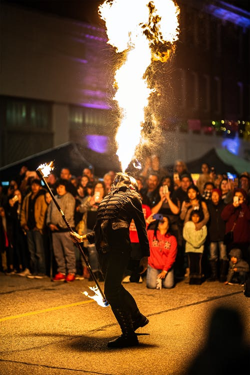 Person Performing A Fire Breath Exhibition