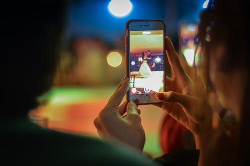 Close-up of Woman Using Mobile Phone at Night