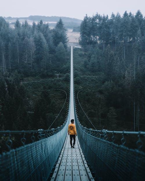 Man Walking On Suspension Bridge