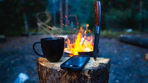 Free stock photo of camp, camping, cell, cellphone