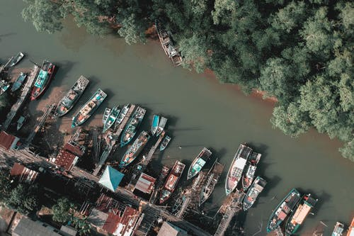 Aerial View of Canoe Boats on Lake