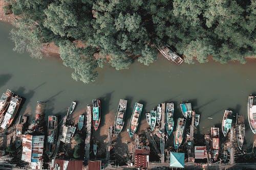 Ingyenes stockfotó csónakok, drónfelvétel, fák, folyó témában