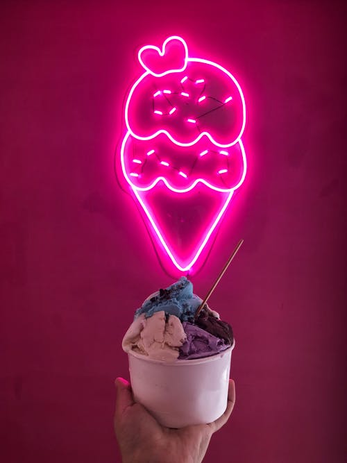 Pink and White Ice Cream Neon Signage