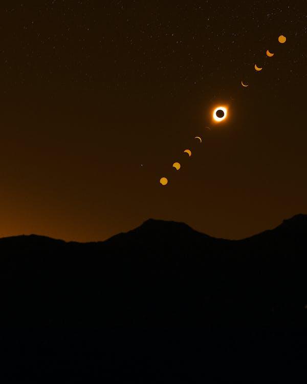 eclipse, exposição longa, iluminado por trás