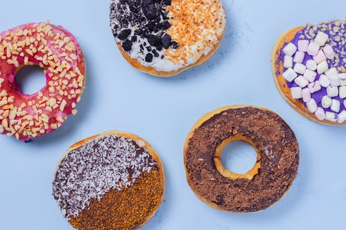 Free stock photo of asian food, blue, donut